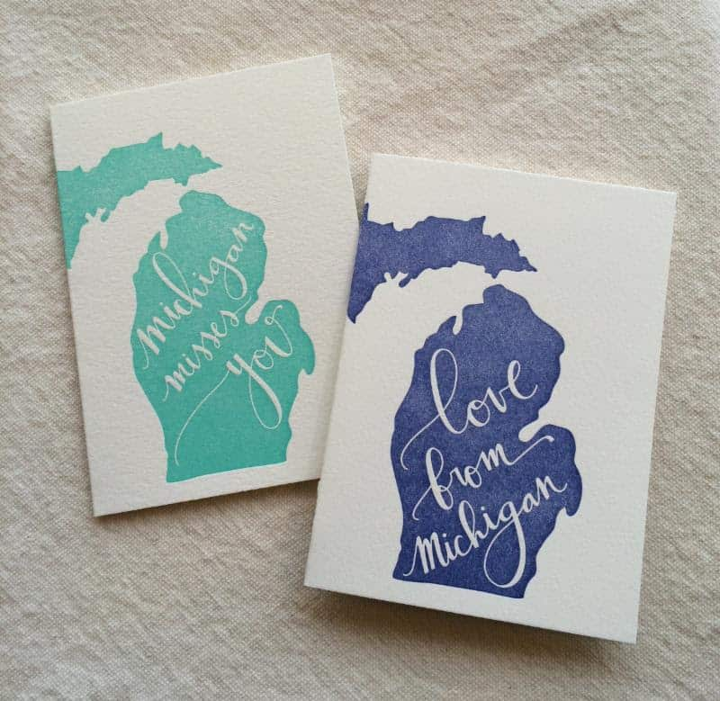 Michigan letterpress cards wool honey emilie m4hsunfo